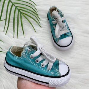 Infant Baby Turquoise Low Top Converse Size 2